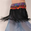 Mirror-Ribbon Fringe Hip Scarf