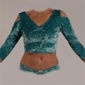 Cold Shoulder 3/4 Sleeve Crop Top - Belly Dance Top